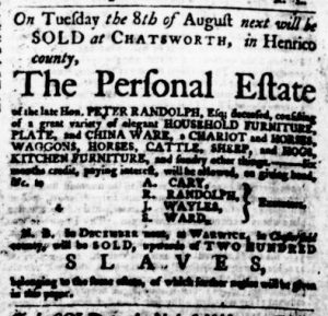Aug 3 - Virginia Gazette Purdie and Dixon Slavery 7
