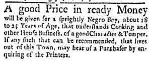 Aug 7 - Boston Evening-Post Slavery 1