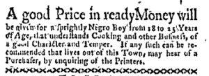 Aug 7 - Boston-Gazette Slavery 1
