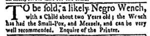 Aug 7 - New-York Gazette and Weekly Mercury Slavery 3
