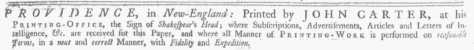 Jul 15 - 7:15:1769 Providence Gazette
