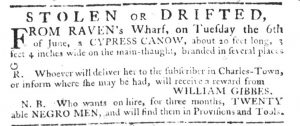Jul 20 - South-Carolina Gazette Slavery 1