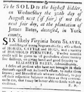 Jul 20 - Virginia Gazette Rind Slavery 1