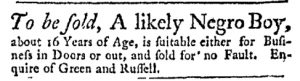 Jul 24 - Massachusetts Gazette Green and Russell Slavery 1