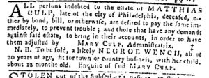 Aug 24 - Pennsylvania Gazette Slavery 1