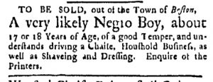 Aug 28 - Boston Evening-Post Slavery 1