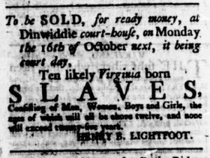 Sep 21 - Virginia Gazette Rind Slavery 1