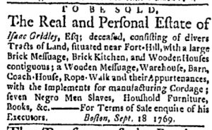 Sep 25 - Boston Evening-Post Slavery 1