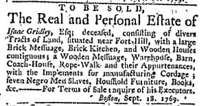 Sep 28 - Massachusetts Gazette and Boston Weekly News-Letter Slavery 2