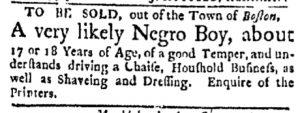 Sep 4 - Boston Evening-Post Slavery 1