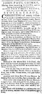 Sep 6 - South-Carolina and American General Gazette Slavery 1