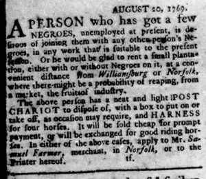 Sep 7 - Virginia Gazette Rind Slavery 2