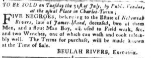 Jul 10 - South-Carolina Gazette and Country Journal slavery 3