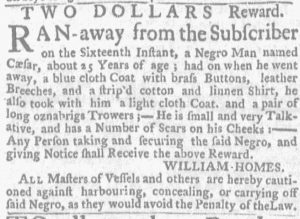 Jul 12 - Massachusetts Gazette and Boston Weekly News-Letter slavery 3