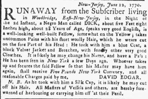 Jul 16 - New-York Gazette or Weekly Post-Boy slavery 1