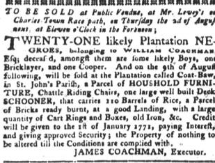 Jul 17 - South-Carolina Gazette and Country Journal slavery 1