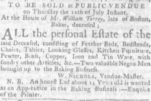 Jul 5 - Massachusetts Gazette and Boston Weekly News-Letter slavery 1