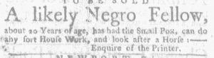 Jul 5 - Massachusetts Gazette and Boston Weekly News-Letter slavery 2