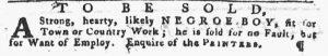 Jul 5 - Pennsylvania Gazette slavery 1