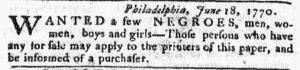 Jul 9 - Pennsylvania Chronicle slavery 1