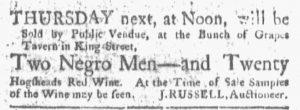 Jun 11 - Boston Gazette and Country Journal Slavery 1