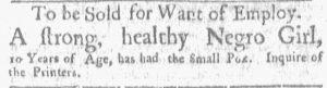 Jun 4 - Boston Gazette and Country Journal Slavery 1
