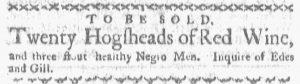 Jun 4 - Boston Gazette and Country Journal Supplement Slavery 1