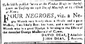 May 18 - South Carolina and American General Gazette Slavery 1