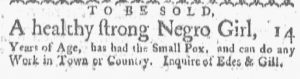 May 21 - Boston Gazette and Country Journal Slavery 1