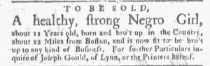 May 21 - Boston Gazette and Country Journal Slavery 3