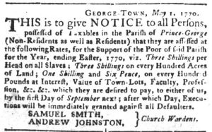 May 22 - South Carolina Gazette and Country Journal Slavery 2