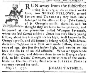 May 22 - South Carolina Gazette and Country Journal Slavery 4