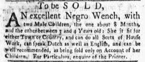 May 28 - New-York Gazette and the Weekly Mercury Supplement Slavery 4