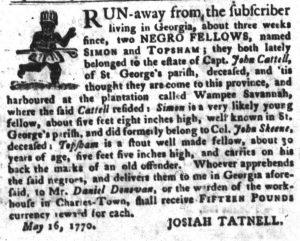 May 29 - South Carolina Gazette and Country Journal Slavery 10