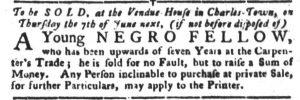 May 29 - South Carolina Gazette and Country Journal Slavery 5