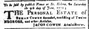 May 30 - South Carolina and American General Gazette Slavery 3