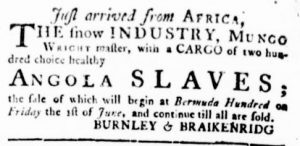 May 31 - Virginia Gazette Rind Slavery 5