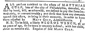 Oct 12 - Pennsylvania Gazette Slavery 3