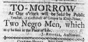 Oct 19 - Massachusetts Gazette and Boston Weekly News-Letter Slavery 1