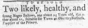 Oct 19 - Massachusetts Gazette and Boston Weekly News-Letter Slavery 2
