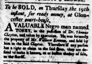 Oct 19 - Virginia Gazette Rind Supplement Slavery 1