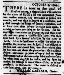 Oct 19 - Virginia Gazette Rind Supplement Slavery 2