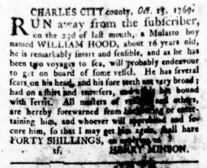 Oct 19 - Virginia Gazette Rind Supplement Slavery 3