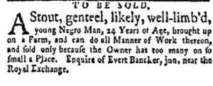 Oct 2 - New-York Gazette and Weekly Mercury Slavery 2