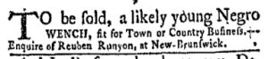 Oct 23 - New-York Gazette and Weekly Mercury Slavery 1