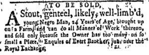 Oct 23 - New-York Gazette and Weekly Mercury Slavery 2