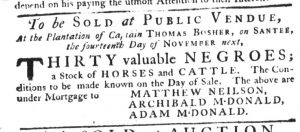 Oct 26 - South-Carolina Gazette Slavery 1