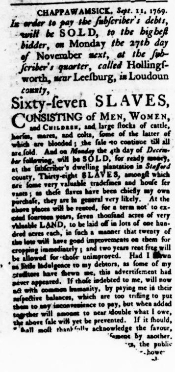 Oct 26 - Virginia Gazette Rind Slavery 7