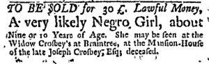 Oct 5 - Massachusetts Gazette and Boston Weekly News-Letter Slavery 5