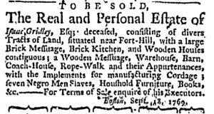 Oct 5 - Massachusetts Gazette and Boston Weekly News-Letter Slavery 6